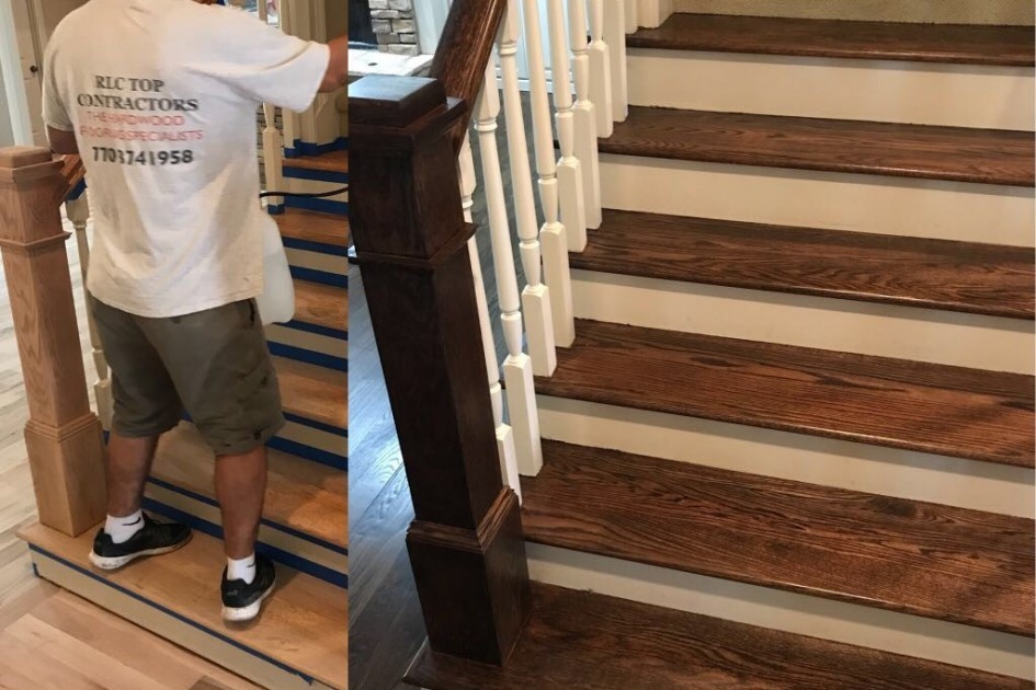 Before/After Floor Stairs Refinish